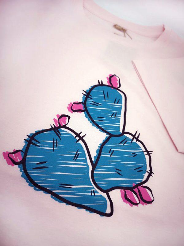 estampado delantero Chumbera Siroco camiseta Rosa claro