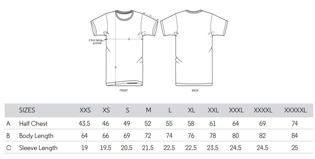 guía de tallas camiseta acho